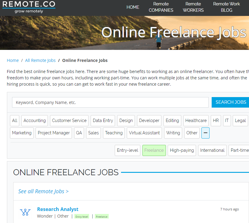 Remote.co is one site like Fiverr with a lot of work from home categories.